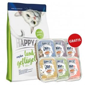 Happy Cat Sensitive Land-Geflügel 4kg mit 6x100g Nassfutter gratis