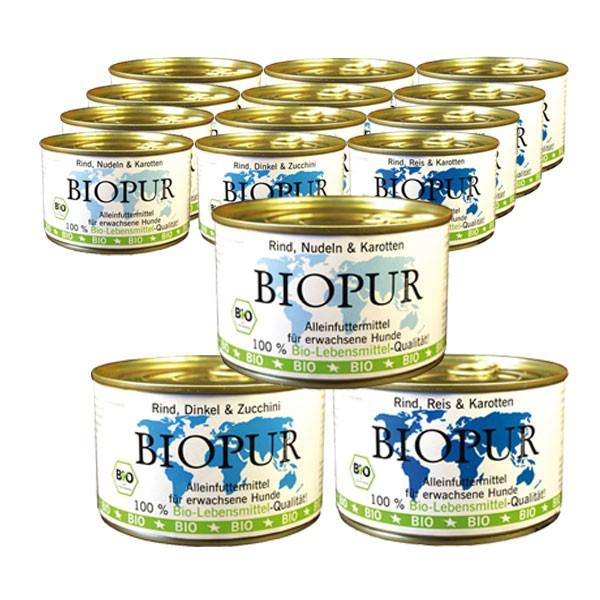 BIOPUR Bio Mix-Set Rind mit Reis, Dinkel, Karotten 36x400g