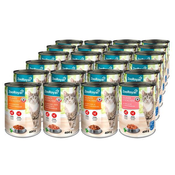 ZooRoyal Delikate Stückchen Mixpaket Huhn, Ente, Geflügel & Seelachs 24x400g
