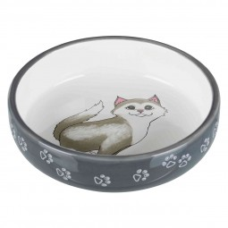 Trixie Keramiknapf Katze für kurznasige Rassen grau/weiß 0,3 l