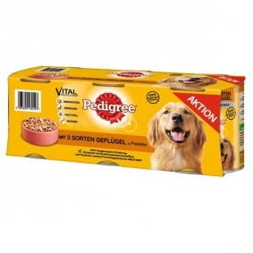 Pedigree Hundefutter 3 Sorten Geflügel 3x800g