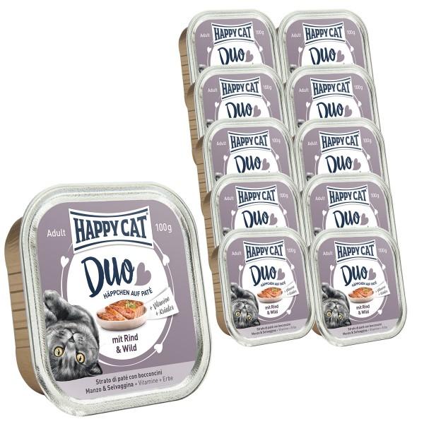 Happy Cat Paté auf Häppchen Rind & Wild 12x100g