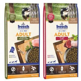 Bosch variace chutí jehněčí maso a rýže + drůbež a jáhly, 2 x 15 kg