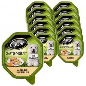 Cesar Gartenvielfalt mit Gemüsekern Nassfutter 24x150g