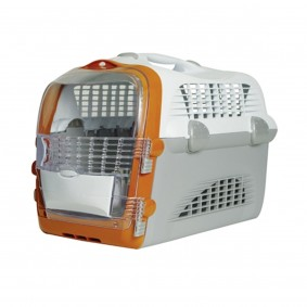 Cage de transport « Pet Cargo Cabrio » - blanc-gris-orange