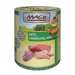 MAC's Cat Nassfutter Fleischmenü Ente, Kaninchen & Rind