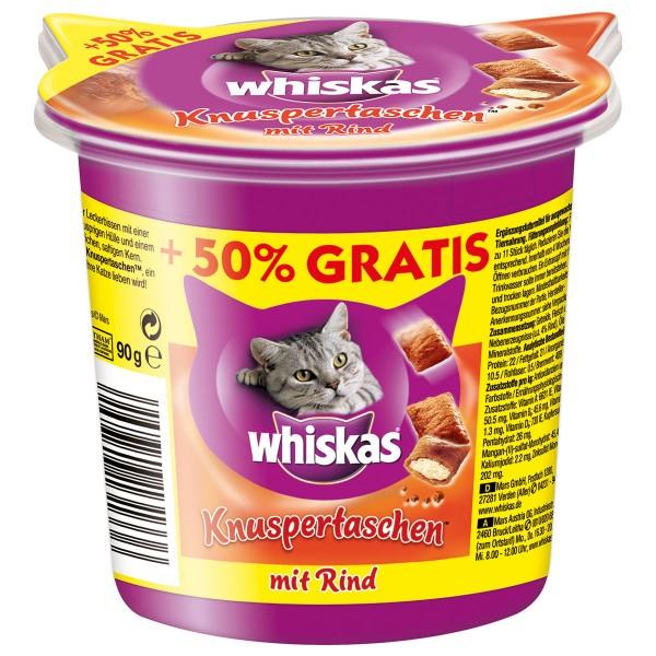 Whiskas Knuspertaschen Care & Treats Rind 60g plus 30g gratis