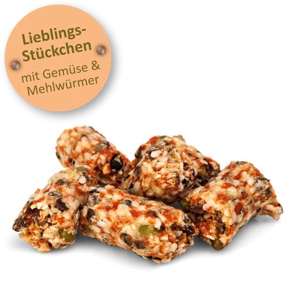 Bunny LIEBLINGS-STÜCKCHEN mit Mehlwürmern und Gemüse 60g
