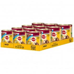 Pedigree plechovka se krabice se 3 druhy masa: hovězí, jehněčí a kuřecí