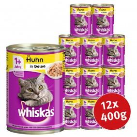 Whiskas Katzenfutter 1+ mit Huhn in Gelee 12x400g