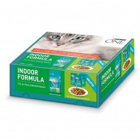 Purina One Bifensis Indoor Formula Truthahn und Vollkorn-Getreide 1,5kg+ 3x85g Nassfutter gratis