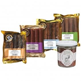 O'Canis Hundesnack Zigarren Probierpaket 1 4x5 Stück + 300g Nassfutter Hirsch GRATIS