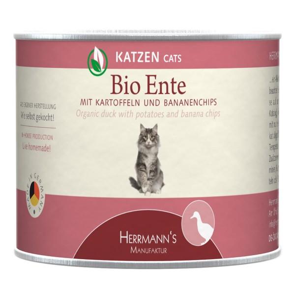Herrmanns Bio Katzenfutter Ente mit Kartoffeln und Bananenchips