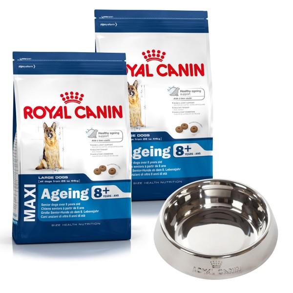 Royal Canin Hundefutter Maxi Ageing 8+ 2x15kg plus Napf gratis