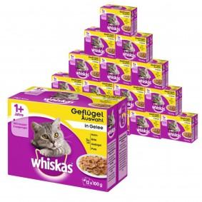Whiskas Katzenfutter 1+ Geflügelauswahl in Gelee Mega Multipack 192x100g