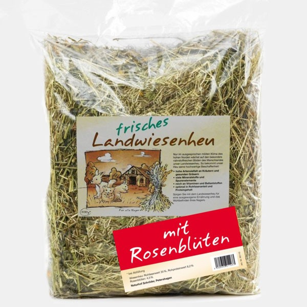 Naturhof Schröder Landwiesen Heu locker gestopft m. Rosenblüten 500 g