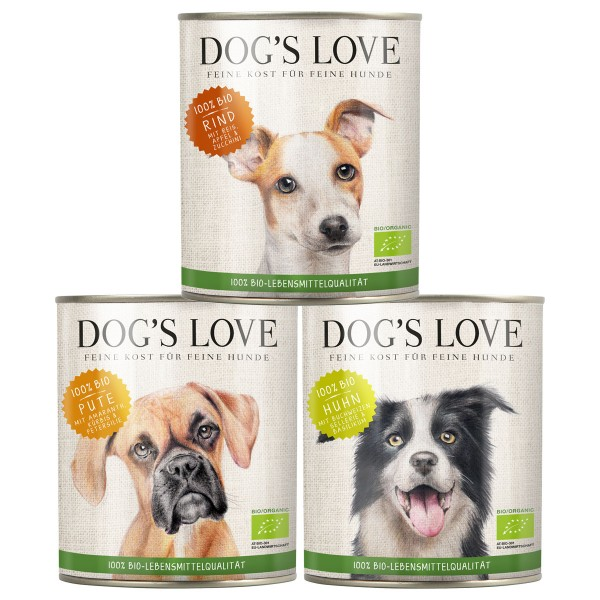 Dog's Love Hunde-Nassfutter Bio Mixpaket Rind, Huhn, Pute 18x400g