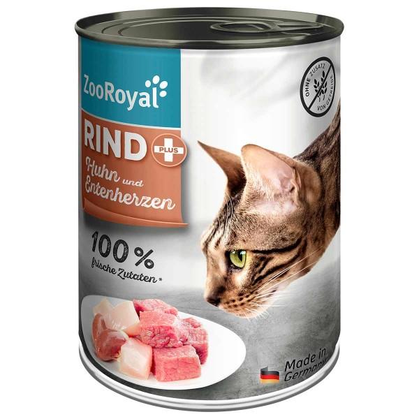 ZooRoyal Rind plus Katzenfutter Mixpaket 6x400g Dosen
