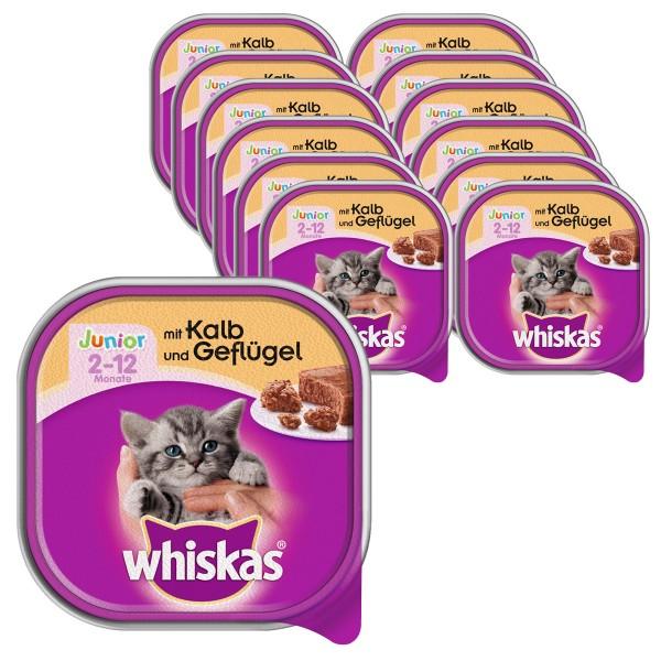 Whiskas Katzenfutter Junior mit Kalb und Geflügel 32x100g