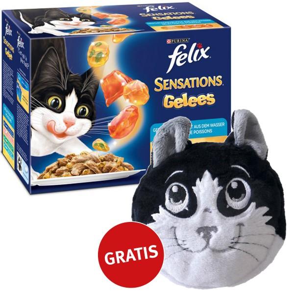 Felix Multipack Sensations Vielfalt aus dem Wasser in Gelee 48x100g plus gratis Katzenkissen