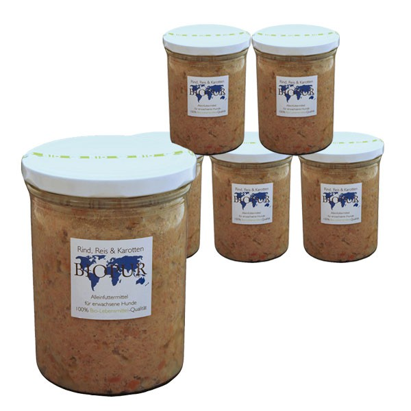 BIOPUR Hundefutter Bio Rind, Reis, Karotten im Glas 6x400g
