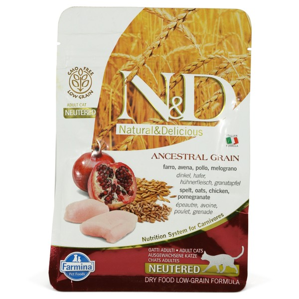 N&D Adult getreidearm Huhn und Granatapfel für kastrierte Katzen