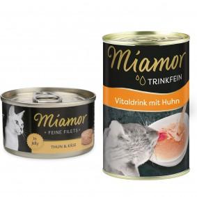 Miamor Feine Filets in Jelly Thunfisch und Käse 24x100g + Trinkfein 135ml GRATIS!