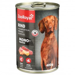 ZooRoyal Hunde-Nassfutter Mono-Protein Rind mit Kartoffeln, Möhren & Distelöl