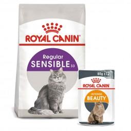 ROYAL CANIN SENSIBLE Trockenfutter 10kg + INTENSE BEAUTY Nassfutter 48x85g