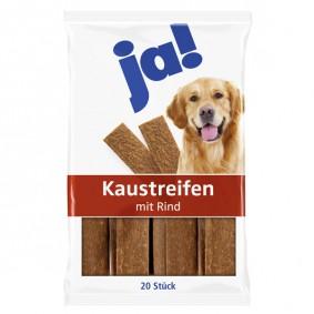 ja! Hundefutter Kaustreifen mit Rind (20 Stück)
