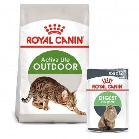 ROYAL CANIN OUTDOOR Trockenfutter 2kg + Digest Sensitive Nassfutter 12x85g