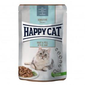 Happy Cat Sensitive Meat in Sauce Haut & Fell Pouch
