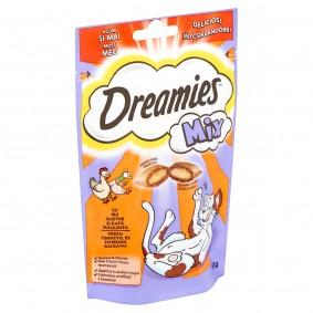 Dreamies Mix pamlsky s chutným kuřecím a šťavnatým kachním pro kočky