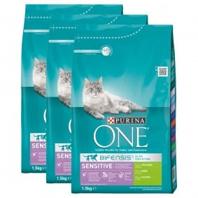 Purina One Bifensis Sensitive krůtí, 3 x 1,5 kg