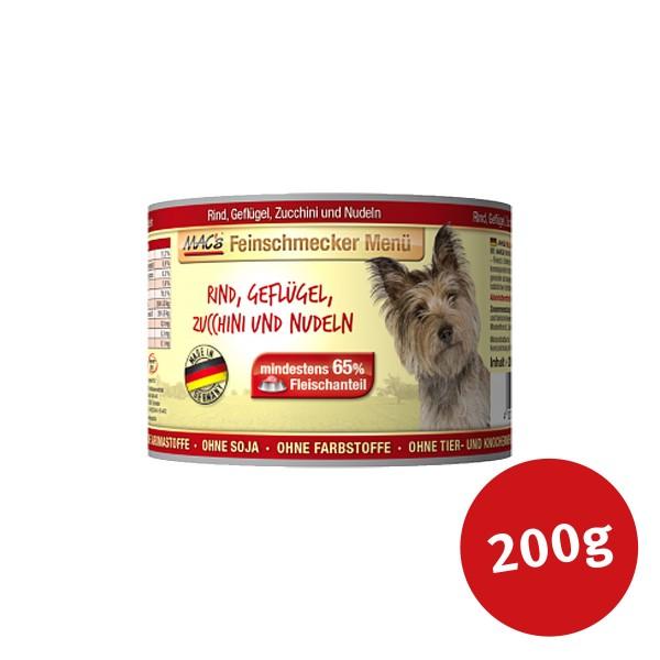 MAC's Dog Hundefutter Feinschmecker Menü Rind, Geflügel und Zucchini