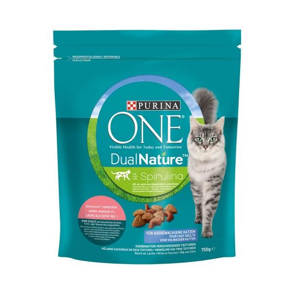 PURINA ONE Dual Nature Katzenfutter trocken Lachs mit Spirulina 750g