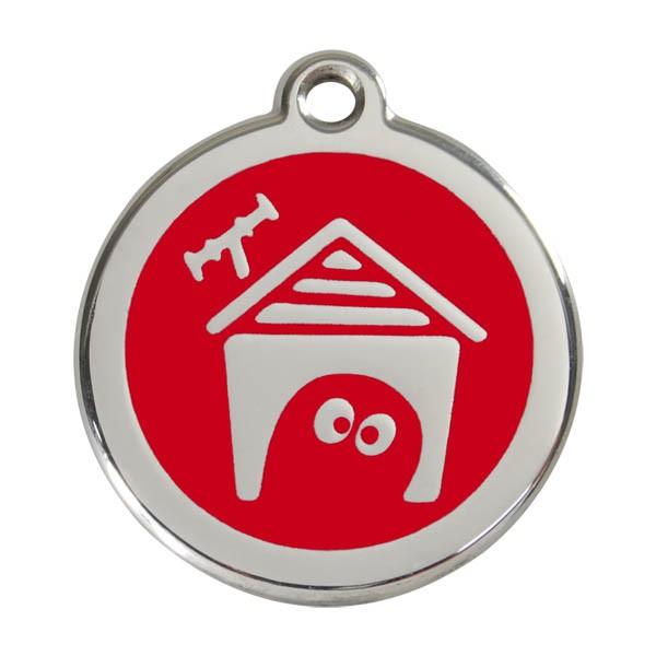 Red Dingo Hundemarke Dog House - Rot L = 38mm Ø - Preisvergleich