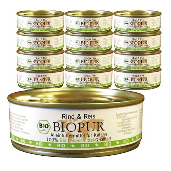 BIOPUR Katzenfutter Bio Rind, Reis Glutenfrei 24x200g