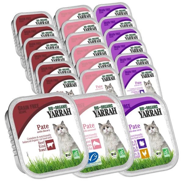 Yarrah Katzenfutter Bio Pate Multipack Fisch Geflügel Rind 48x100g