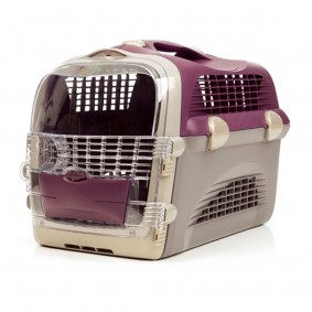 Cage de transport « Pet Cargo Cabrio » - rouge bordeaux-gris