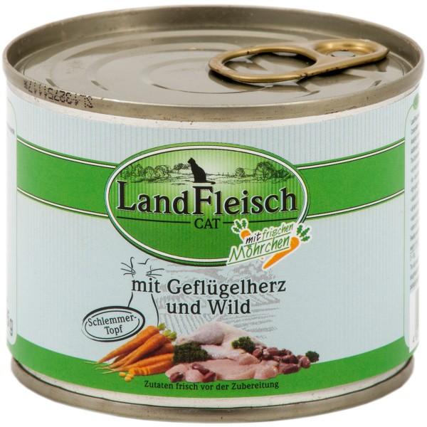 Landfleisch Cat Katzenfutter Schlemmertopf Geflügelherzen & Wild