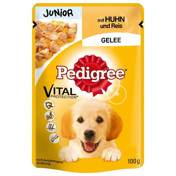 Pedigree Junior mit Huhn und Reis in Gelee