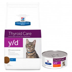 Hill's Prescription Diet y/d Thyroid Care Katzenfutter Original 1,5kg + 6x156g