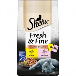 Sheba Fresh & Fine in Sauce mit Huhn & Lachs