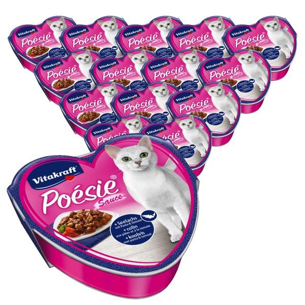 Vitakraft Katzenfutter Poésie Sauce mit Seelachs und Tomate 15x85g