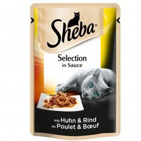 Sheba Katzenfutter Selection in Sauce mit Huhn und Rind