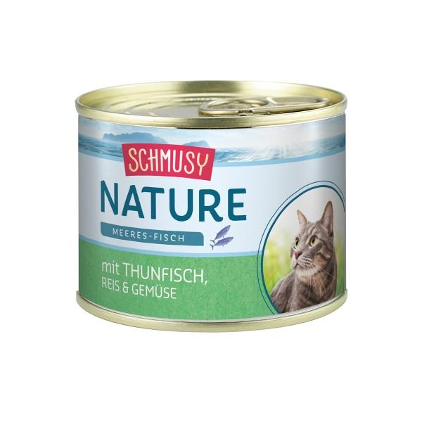 Schmusy Katzenfutter Nature Meeres-Fisch Thun & Gemüse 12x185g