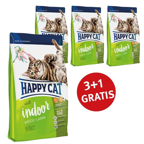 Happy Cat 3+1 Gratis Supreme Adult Indoor Weide-Lamm 300g
