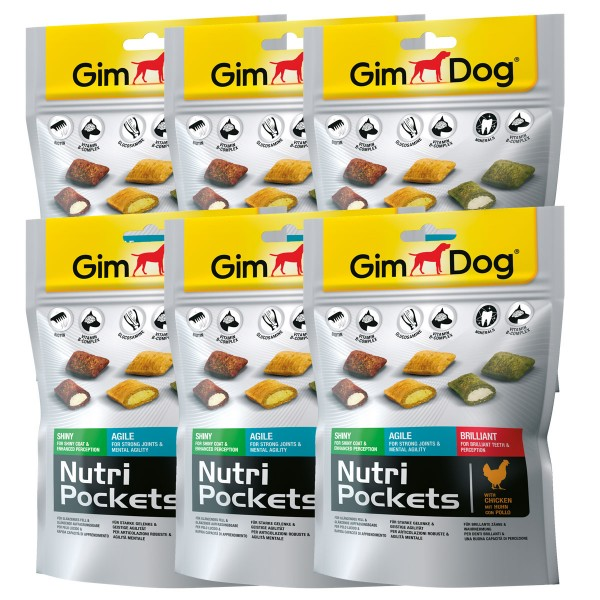 GimDog Hundesnack Nutri Pockets Mix 5 Stück + 1 gratis
