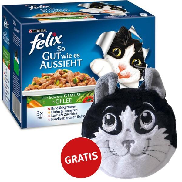 Felix Multipack So gut wie es aussieht Gemüse in Gelee 48x100g plus gratis Katzenkissen